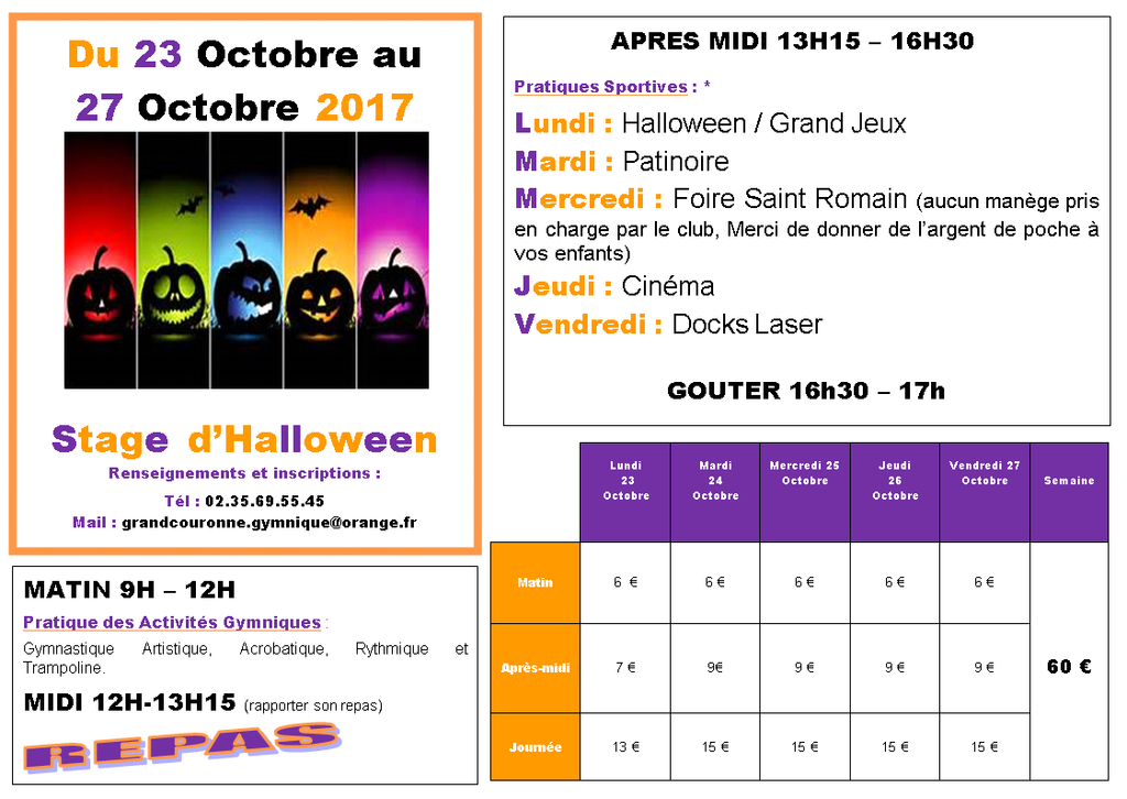STAGE VACANCES HALLOWEEN